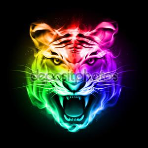 Голова тигра в красочный огонь.