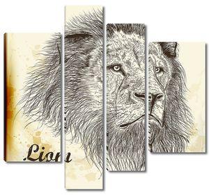 руки drawn Векторный портрет льва в винтажном стиле