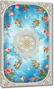 Дизайн потолка с ангелами в небе