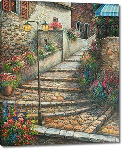 Кирпичная лестница в цветочном городе