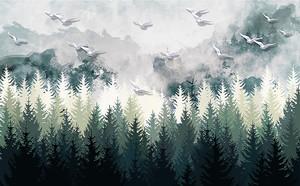 Птицы над хвойным лесом
