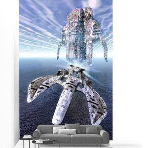 космический корабль истребитель над морем