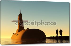 Подводная лодка и два человека