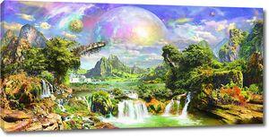 Невероятная фреска с зелеными лесами