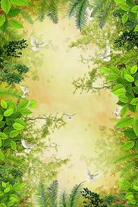 Рамка из различных листьев