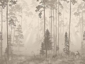 Туманный лес с животными