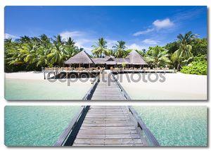 тропический пляж с кокосовыми пальмами, панорамным видом