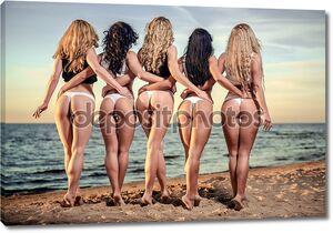 Сексуальная спиной пять красивых женщин в бикини на пляже