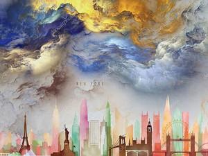 Цветные контуры города и фантастические облака