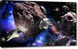 Космический корабль астероидного поля космической базы