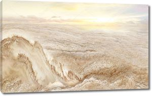 Красивый бежевый мраморный пейзаж, восход солнца, небо и облака