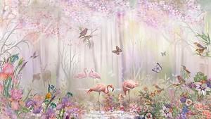 Фламинго на озерце в цветах