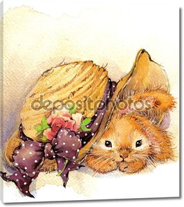 Funny bunny and flower background. watercolor