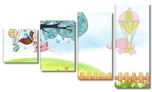 Дети на качелях и летающий слоник