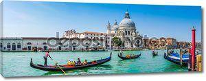 Gondolas on Canal Grande with Basilica di Santa Maria, Venice, Italy