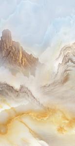 Силуэты гор прожилками в камне
