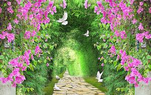 Арка из зелени и цветов