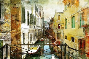 Вид с балкона на канал Венеции