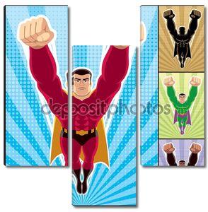 супергерой, летящий