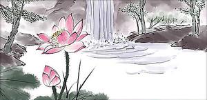 Рисунок лотоса у водопада