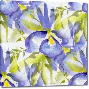 Бесшовный фон с цветами акварель