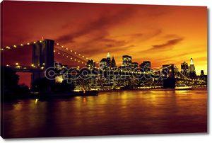 Бруклинский мост на закате, Нью-Йорк