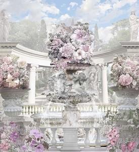Классический фонтан в цветах