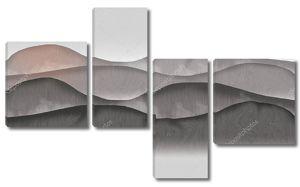 Абстрактная иллюстрация, серый фон, холмы, туман, восход солнца