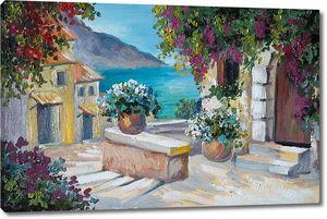 Живопись красивых домов на берегу моря