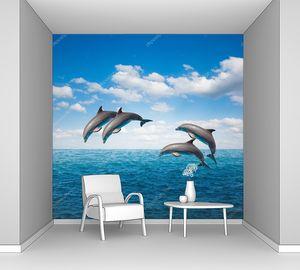 Прыжки дельфинов в океане