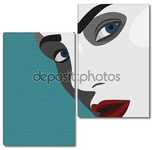Поп-арт молодая женщина с красными губами