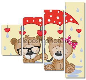 Два плюшевых мишек с зонтом