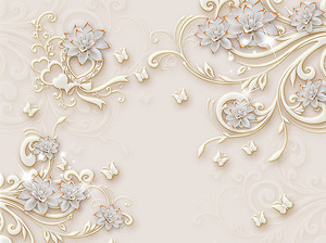 Белые цветы с треугольными лепестками с позолотой