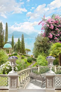 Сад с беседкой и террасой