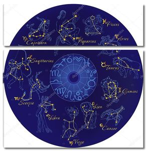 Зодиак с созвездиями и знаками Зодиака