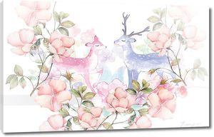 Олени в цветах в пастельной гамме