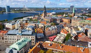 Вид сверху старого города Риги