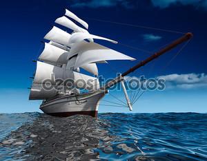 Парусный корабль в океане