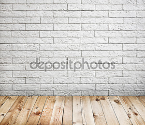 Интерьер комнаты с белого кирпича стены и древесины этаж фона