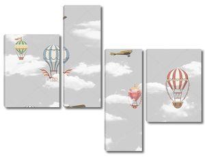 Самолетики и шары в облаках