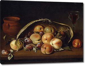 Кампробин Педро де. Корзина с персиками и сливами