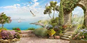 Набережная с видом на море с парусником