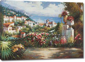 Прекрасная цветочная терраса с видом на город