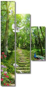 Павлин и голуби на дорожке в лесу