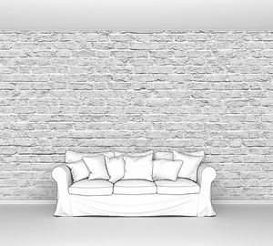 Белая  неровная кирпичная стена
