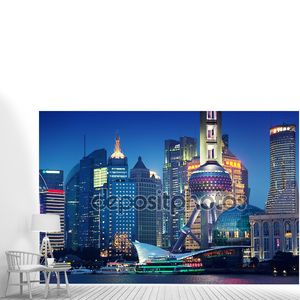 Шанхай ночью Китай