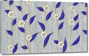 Орнаментальные белые цветы с синими листьями на сером фоне