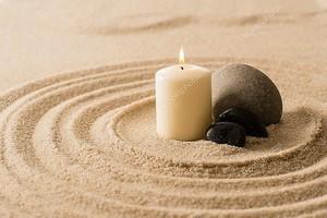 Атмосфера спа свеча zen камни на песке