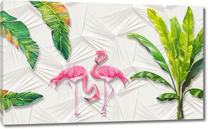 Фламинго с пальмовыми листьями