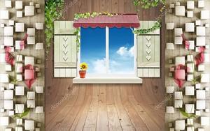 Окна со ставнями в деревянной стене
